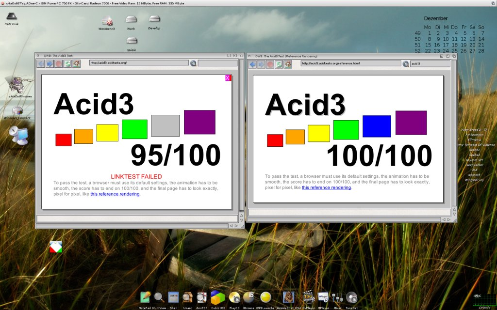 AmigaOS 4.0 running Acid3 with OWB 3.1